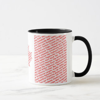 Canadian flag with city and town names mug