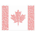 Canadian flag with city and town names postcard