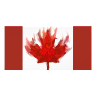canadian flag with heart photo card
