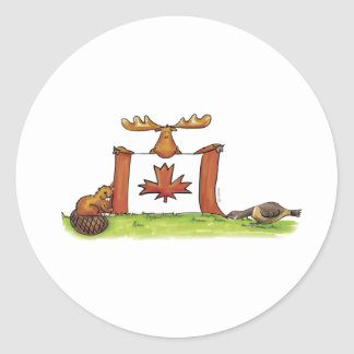 Canadian Flag with moose, beaver and goose Classic Round Sticker