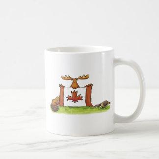 Canadian Flag with moose, beaver and goose Coffee Mug
