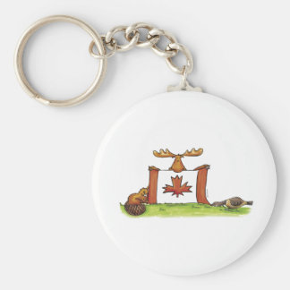 Canadian Flag with moose, beaver and goose Keychain