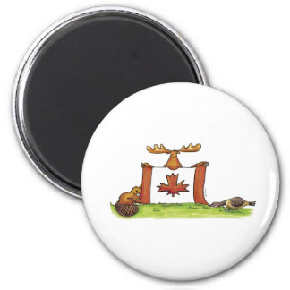Canadian Flag with moose, beaver and goose 2 Inch Round Magnet