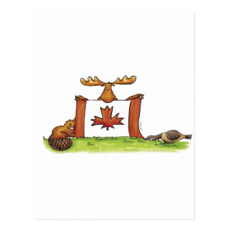 Canadian Flag with moose, beaver and goose Postcard