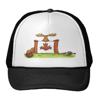 Canadian Flag with moose, beaver and goose Trucker Hat