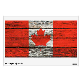 Canadian Flag with Rough Wood Grain Effect Wall Sticker