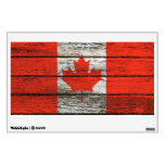 Canadian Flag with Rough Wood Grain Effect Room Decals