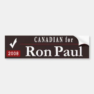 Canadian for Ron Paul _black Car Bumper Sticker