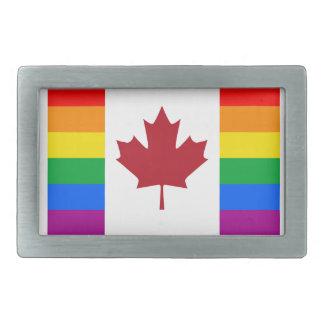 CANADIAN GAY PRIDE FLAG RECTANGULAR BELT BUCKLES