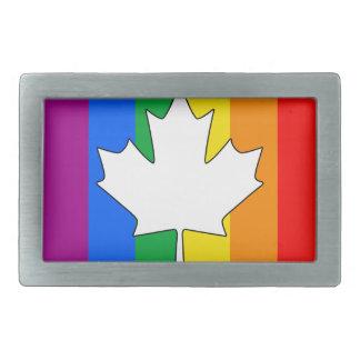 CANADIAN GAY PRIDE MAPLE RECTANGULAR BELT BUCKLE