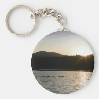 Canadian geese and sunset over Spring Valley Reser Keychains