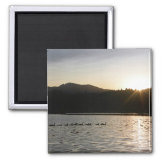 Canadian geese and sunset over Spring Valley Reser Fridge Magnet