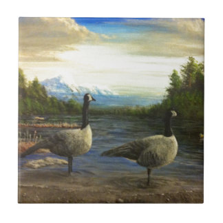 Canadian Geese Beaver Lake Ceramic Tile