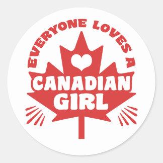 Canadian Girl Classic Round Sticker