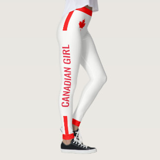 Canadian Girl Maple on Red and White Leggings