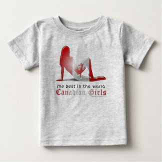 Canadian Girl Silhouette Flag Baby T-Shirt