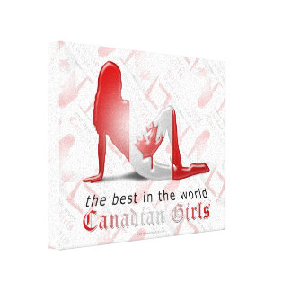 Canadian Girl Silhouette Flag Canvas Prints