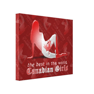 Canadian Girl Silhouette Flag Stretched Canvas Prints