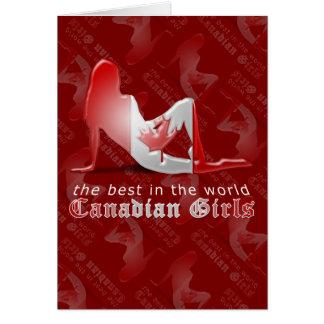 Canadian Girl Silhouette Flag Card