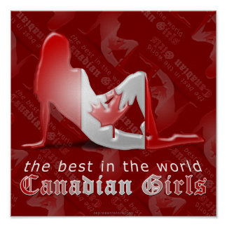 Canadian Girl Silhouette Flag Print