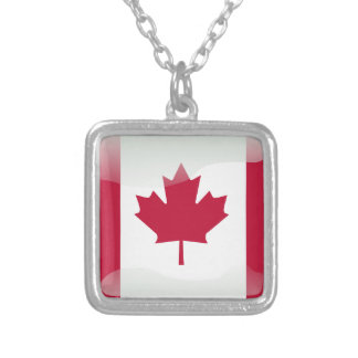 Canadian glossy flag silver plated necklace