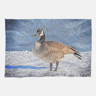 Canadian Goose in the snow Kitchen Towel