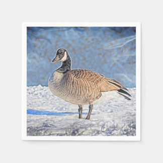 Canadian Goose in the snow Paper Napkin