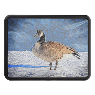 Canadian goose in the snow tow hitch cover