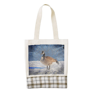 Canadian goose in the snow zazzle HEART tote bag