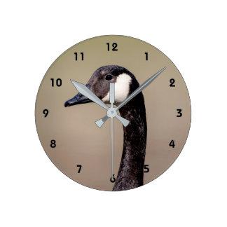 Canadian Goose Portrait Round Clock