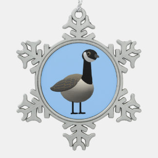 Canadian Goose Snowflake Pewter Christmas Ornament