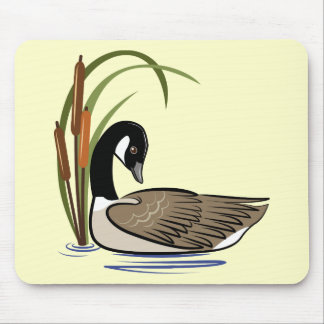 Canadian goose with cattails. mouse pad