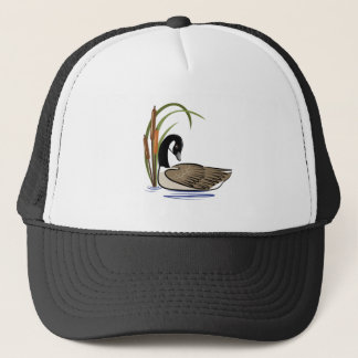 Canadian goose with cattails. trucker hat
