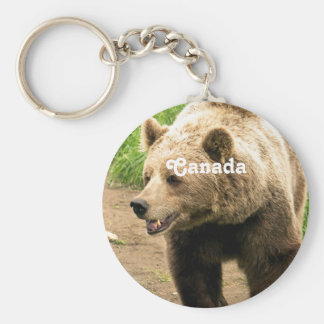 Canadian Grizzly Basic Round Button Keychain