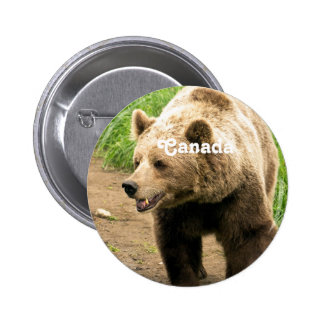 Canadian Grizzly Pinback Button
