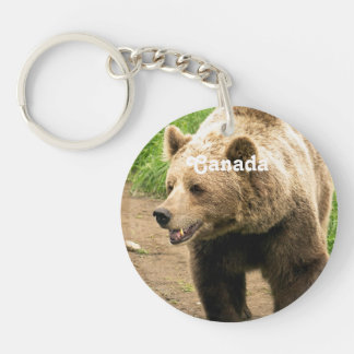 Canadian Grizzly Single-Sided Round Acrylic Keychain