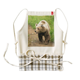 Canadian Grizzly Zazzle HEART Apron