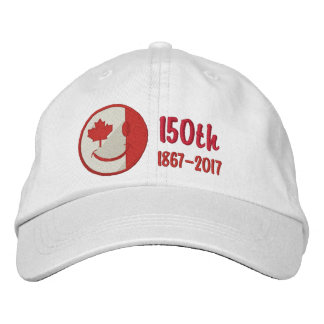 Canadian Happy Face 150th Anniversary Embroidered Embroidered Baseball Hat