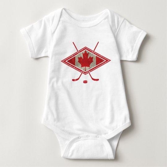 Canadian Hockey Flag Logo Baby Bodysuit