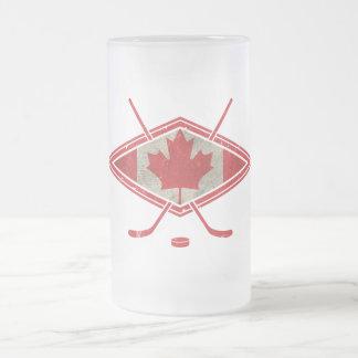 Canadian Hockey Flag Logo Frosted Glass Beer Mug