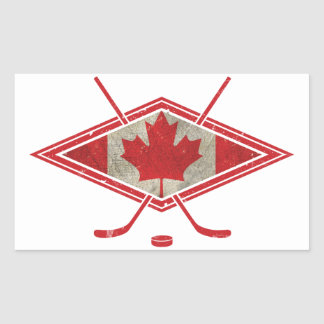 Canadian Hockey Flag Logo Rectangular Sticker