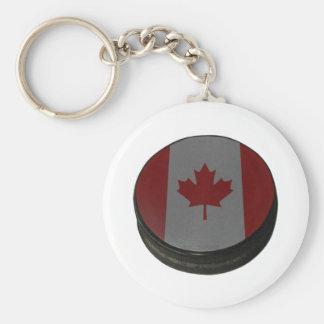 Canadian Hockey Puck Keychain