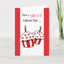 Canadian Labour Day Red Flag Maple Leaf Cupcakes Card