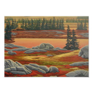 Canadian Landscape Painting Bear Art Print