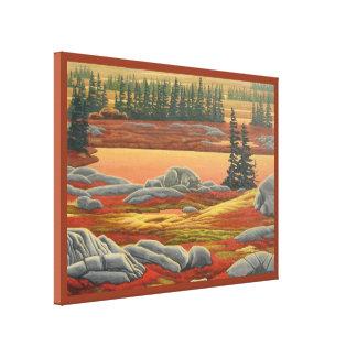 Canadian Landscape Painting Bear Canvas Print