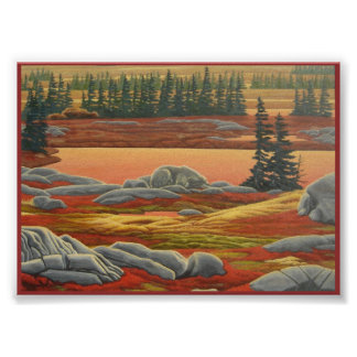 Canadian Landscape Painting Polar Bear Art Print