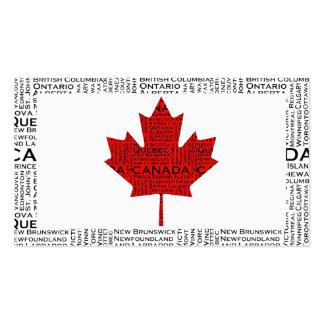 Canadian Leaf w/ City & States Background Business Card Template