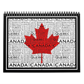 Canadian Leaf w/ City & States Background Calendar
