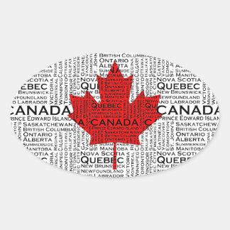 Canadian Leaf w/ City & States Background Sticker
