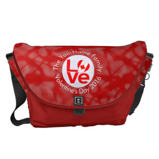 Canadian Love Red Background White Circle Messenger Bag